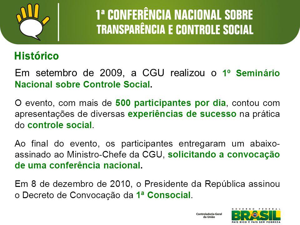 Em setembro de 2009, a CGU realizou o 1º Seminário Nacional sobre Controle Social.