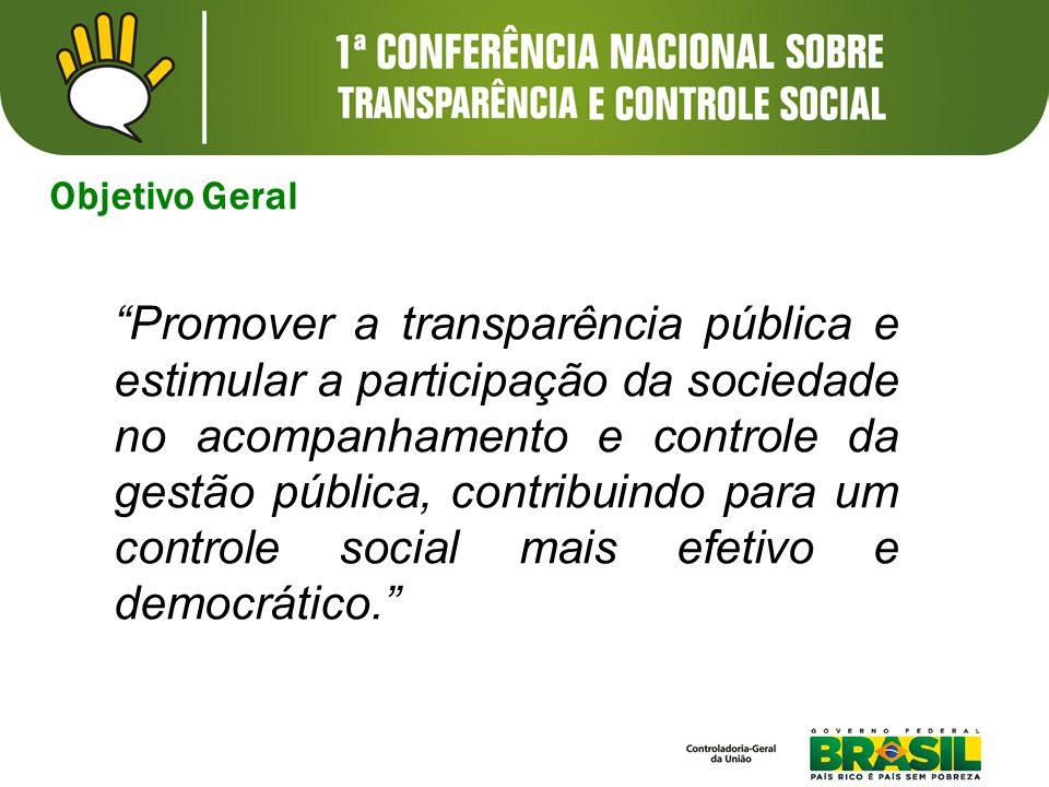 Objetivo Geral Promover a transparência pública e estimular a participação da sociedade no acompanhamento e controle da gestão pública, contribuindo para um controle social mais efetivo e democrático.