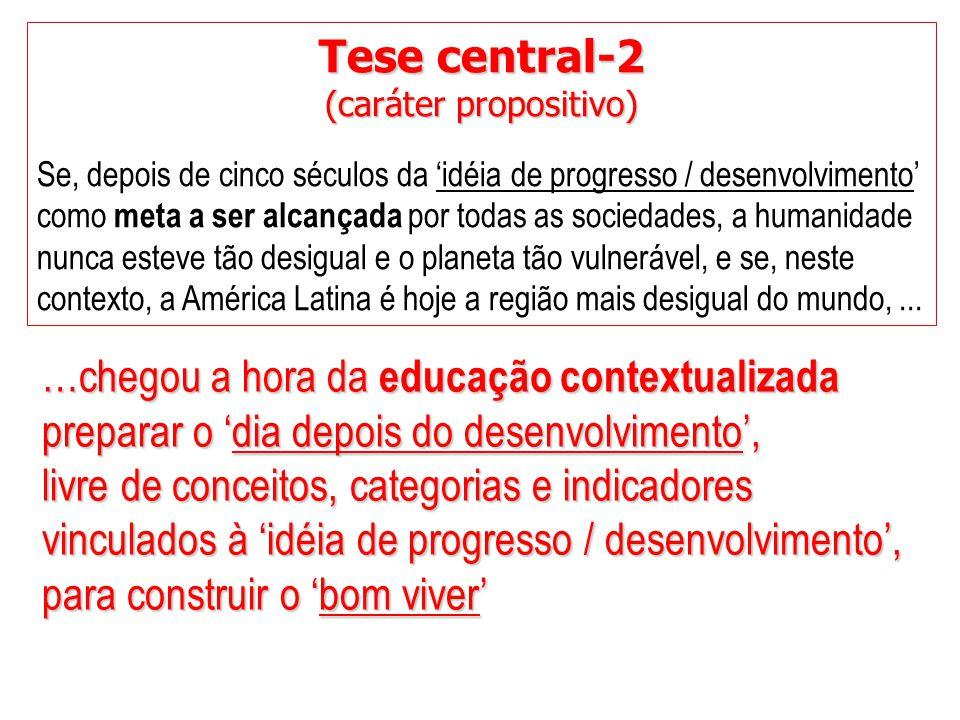 Tese central-2 (caráter propositivo) Se, depois de cinco séculos da 'idéia de progresso / desenvolvimento' como meta a ser alcançada por todas as soci