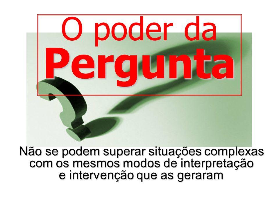 O poder daPergunta Não se podem superar situações complexas com os mesmos modos de interpretação e intervenção que as geraram