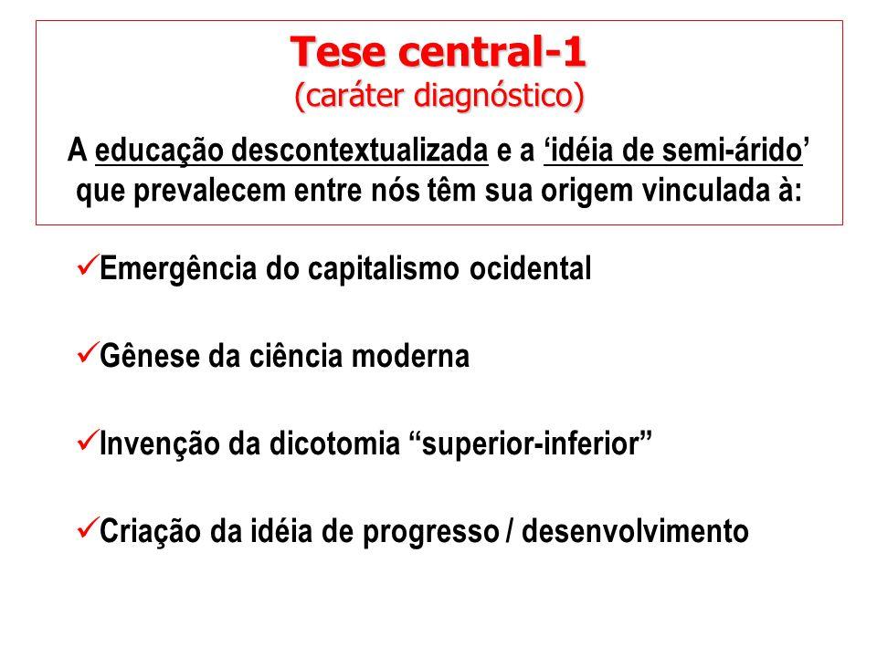 Tese central-1 (caráter diagnóstico) A educação descontextualizada e a 'idéia de semi-árido' que prevalecem entre nós têm sua origem vinculada à: Emer