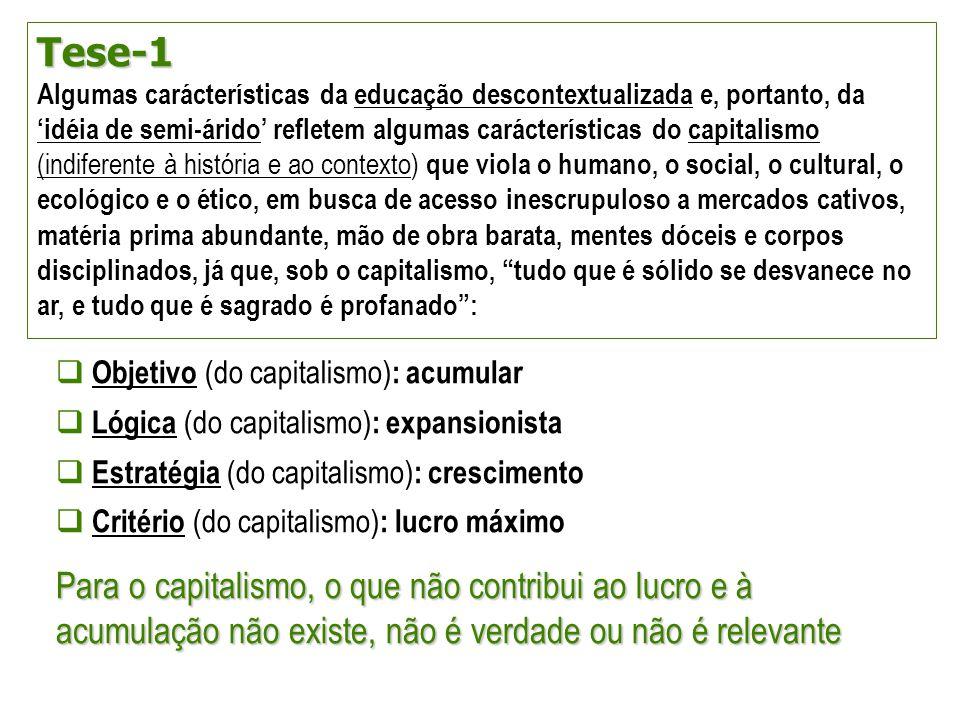 Tese-1 Algumas carácterísticas da educação descontextualizada e, portanto, da 'idéia de semi-árido' refletem algumas carácterísticas do capitalismo (i