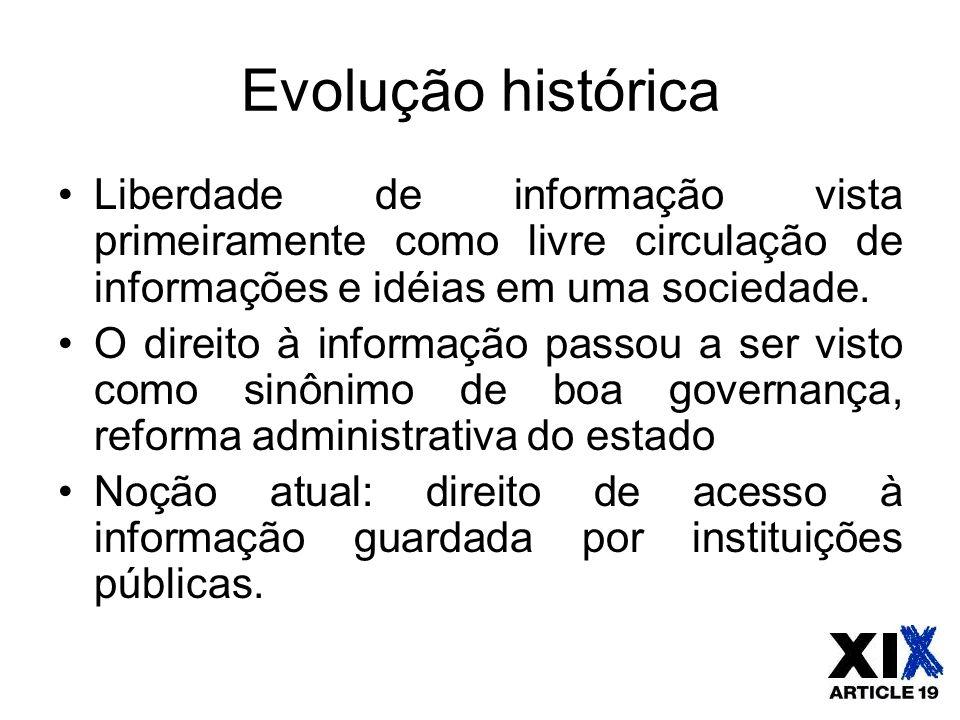 Evolução histórica Liberdade de informação vista primeiramente como livre circulação de informações e idéias em uma sociedade. O direito à informação