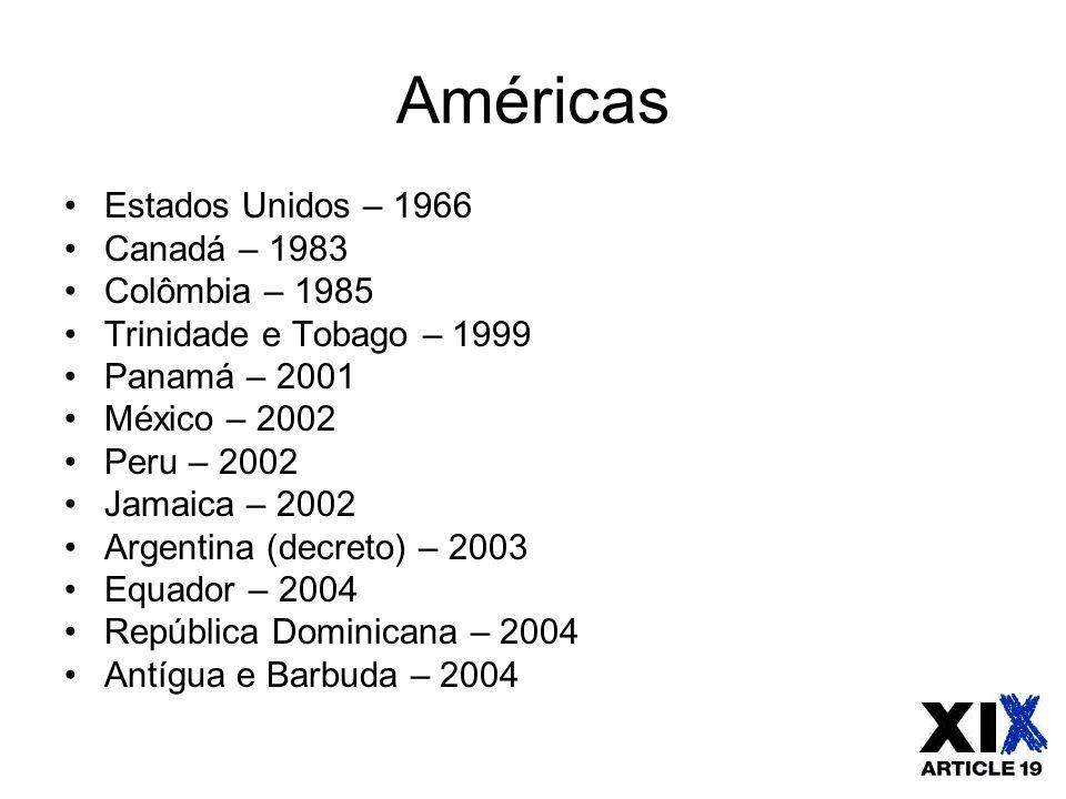 Américas Estados Unidos – 1966 Canadá – 1983 Colômbia – 1985 Trinidade e Tobago – 1999 Panamá – 2001 México – 2002 Peru – 2002 Jamaica – 2002 Argentin