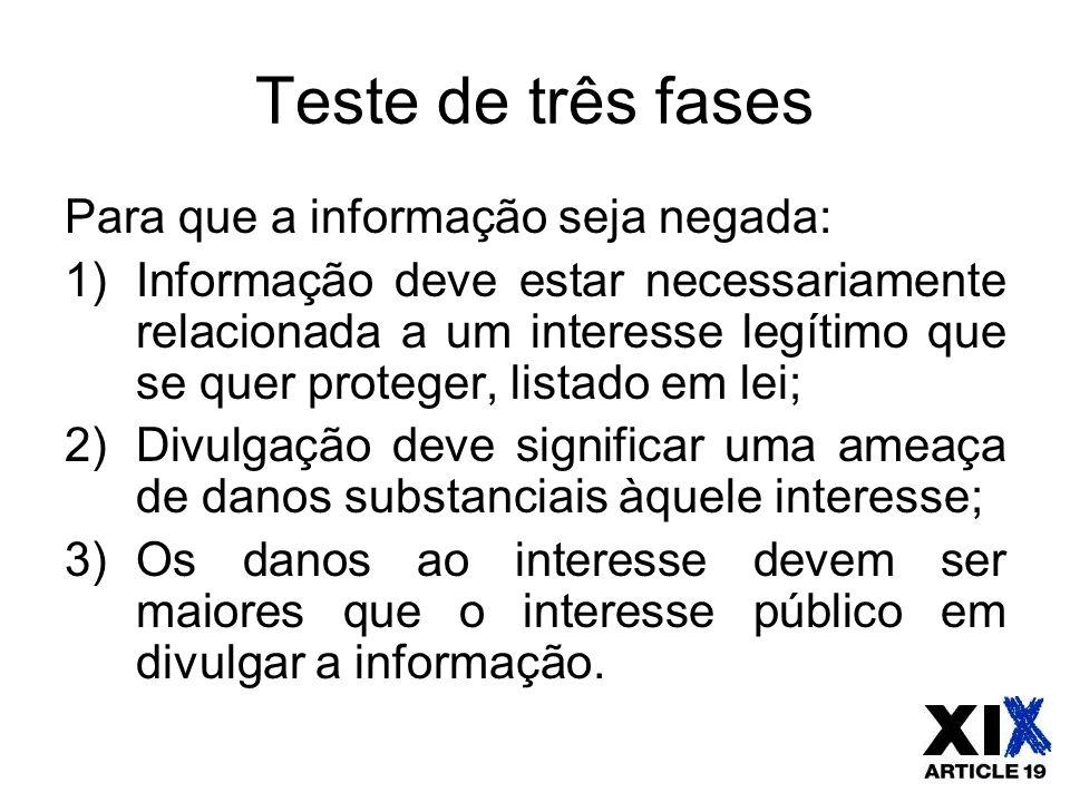 Teste de três fases Para que a informação seja negada: 1)Informação deve estar necessariamente relacionada a um interesse legítimo que se quer protege