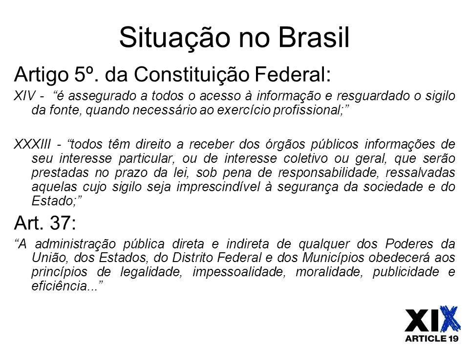 """Situação no Brasil Artigo 5º. da Constituição Federal: XIV - """"é assegurado a todos o acesso à informação e resguardado o sigilo da fonte, quando neces"""