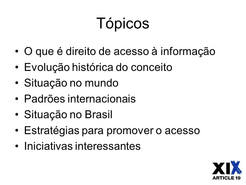 Tópicos O que é direito de acesso à informação Evolução histórica do conceito Situação no mundo Padrões internacionais Situação no Brasil Estratégias