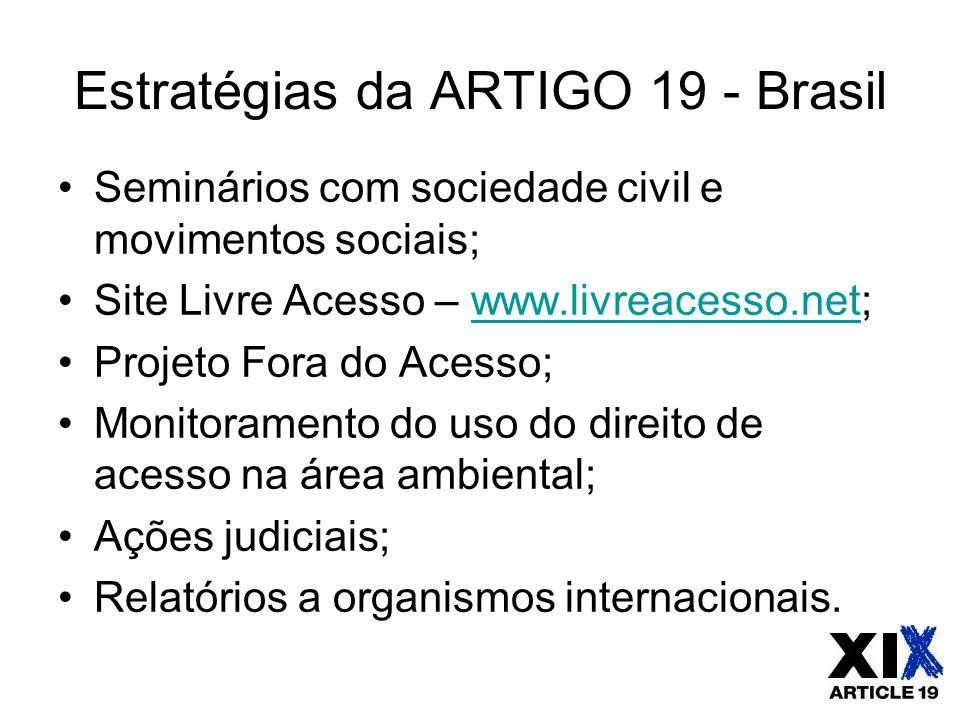 Estratégias da ARTIGO 19 - Brasil Seminários com sociedade civil e movimentos sociais; Site Livre Acesso – www.livreacesso.net;www.livreacesso.net Pro
