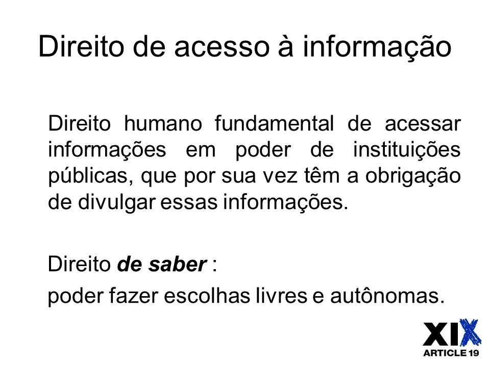 Direito de acesso à informação Direito humano fundamental de acessar informações em poder de instituições públicas, que por sua vez têm a obrigação de