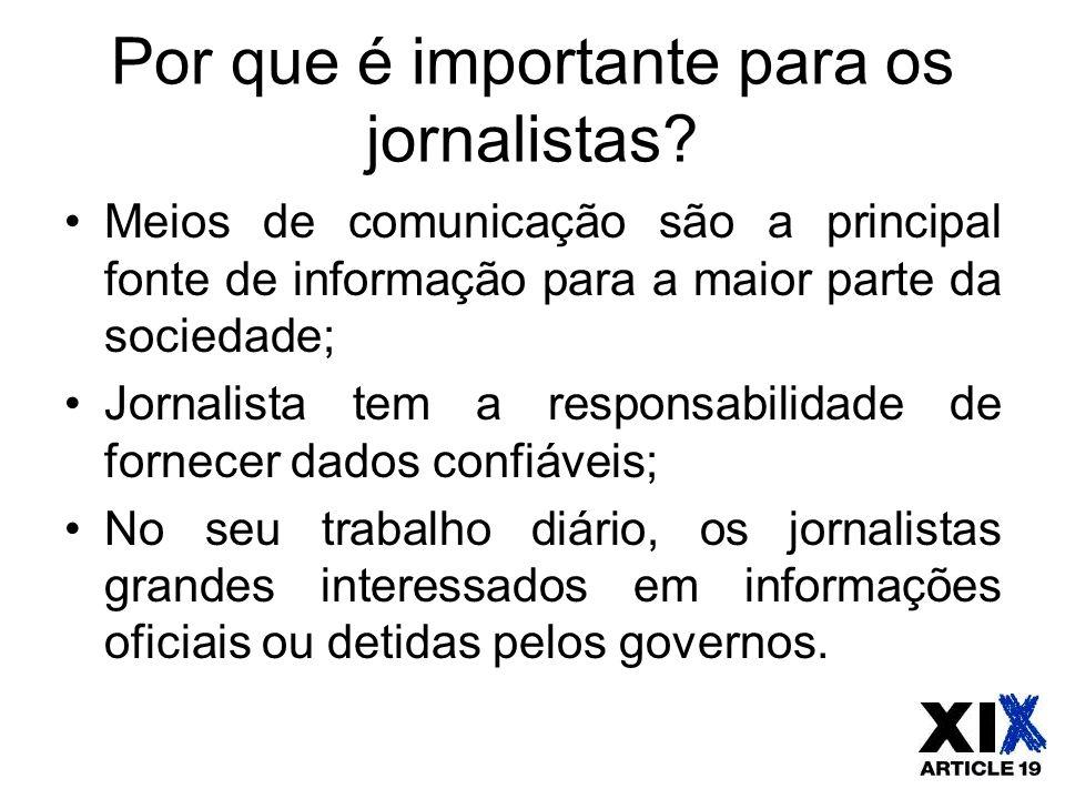 Por que é importante para os jornalistas? Meios de comunicação são a principal fonte de informação para a maior parte da sociedade; Jornalista tem a r