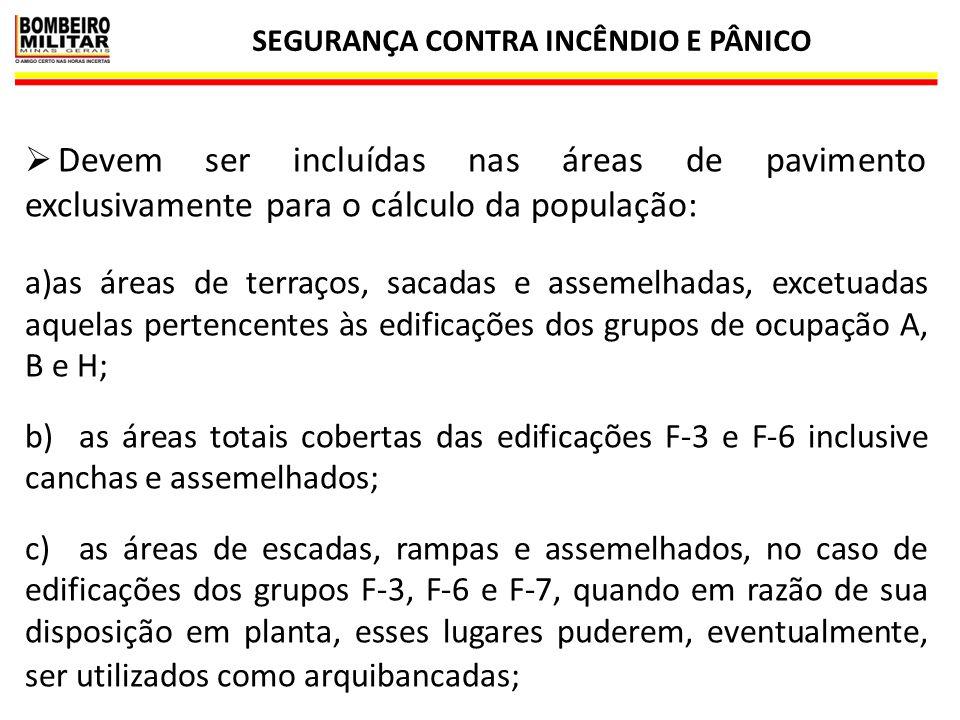 SEGURANÇA CONTRA INCÊNDIO E PÂNICO 5  Exclusivamente para o cálculo da população, as áreas de sanitários, corredores e elevadores nas ocupações C, D, E e F, são excluídas das áreas de pavimento.