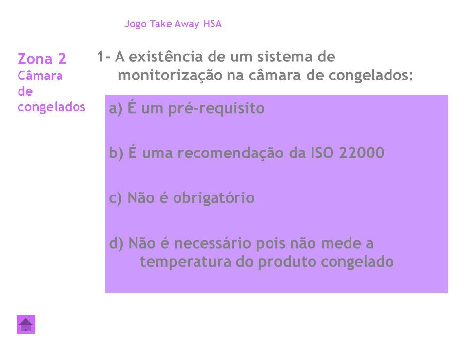 Zona 2 Câmara de congelados 1- A existência de um sistema de monitorização na câmara de congelados: Jogo Take Away HSA a) É um pré-requisito b) É uma