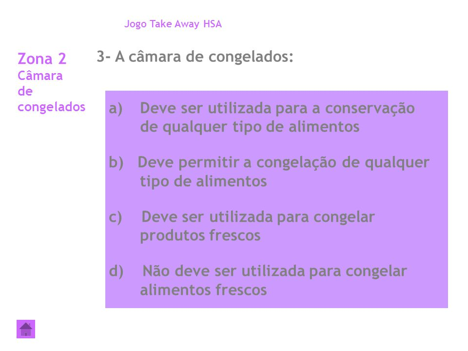 Zona 2 Câmara de congelados 3- A câmara de congelados: Jogo Take Away HSA a)Deve ser utilizada para a conservação de qualquer tipo de alimentos b) Dev