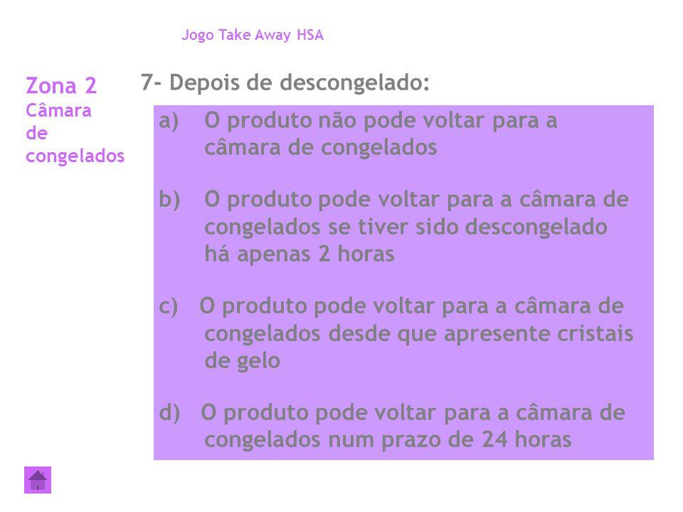 Zona 2 Câmara de congelados 7- Depois de descongelado: Jogo Take Away HSA a)O produto não pode voltar para a câmara de congelados b)O produto pode vol