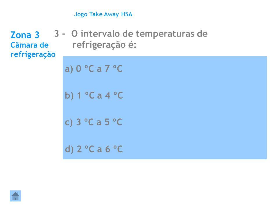 Zona 3 Câmara de refrigeração 3 - O intervalo de temperaturas de refrigeração é: Jogo Take Away HSA a) 0 ºC a 7 ºC b) 1 ºC a 4 ºC c) 3 ºC a 5 ºC d) 2