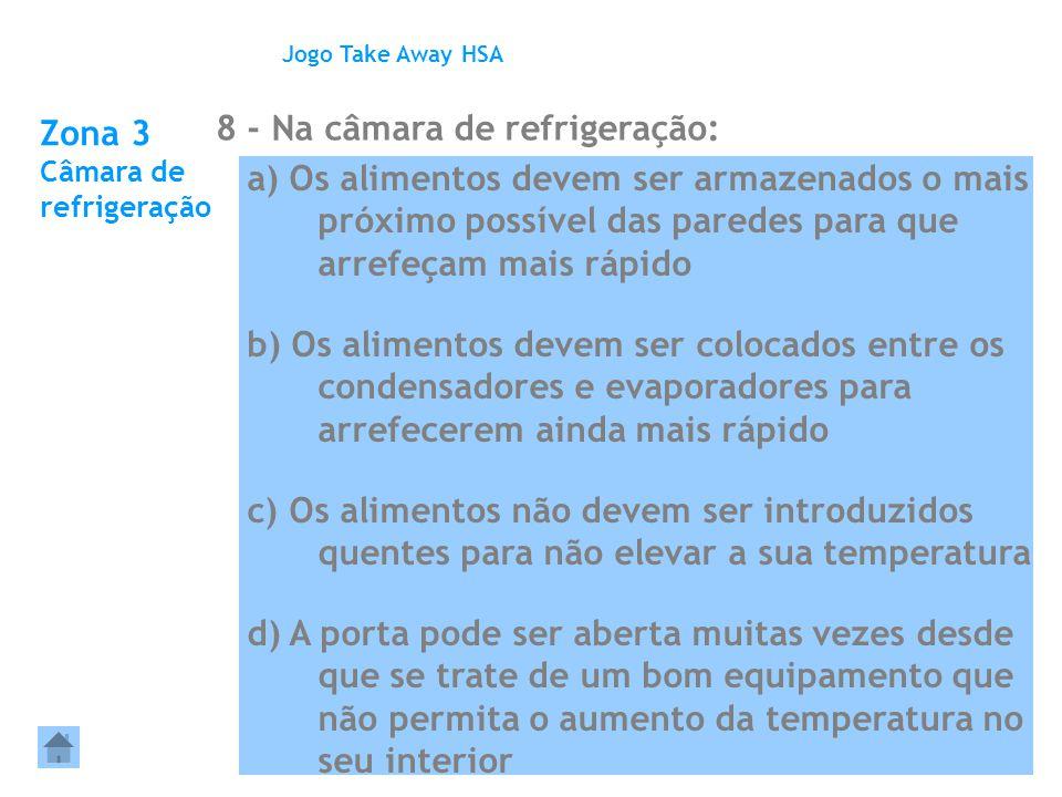 Zona 3 Câmara de refrigeração 8 - Na câmara de refrigeração: Jogo Take Away HSA a) Os alimentos devem ser armazenados o mais próximo possível das pare