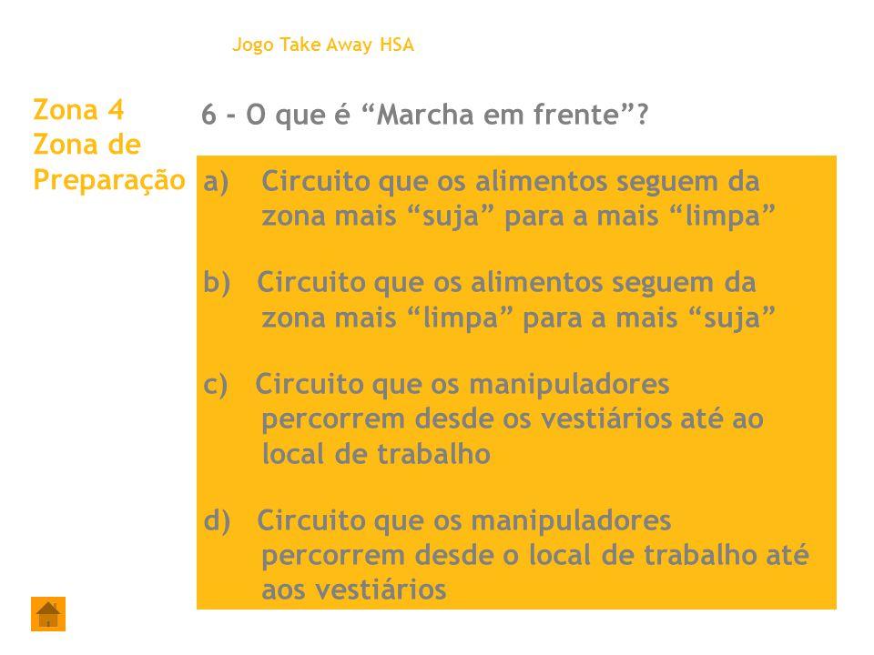 """Zona 4 Zona de Preparação 6 - O que é """"Marcha em frente""""? Jogo Take Away HSA a)Circuito que os alimentos seguem da zona mais """"suja"""" para a mais """"limpa"""