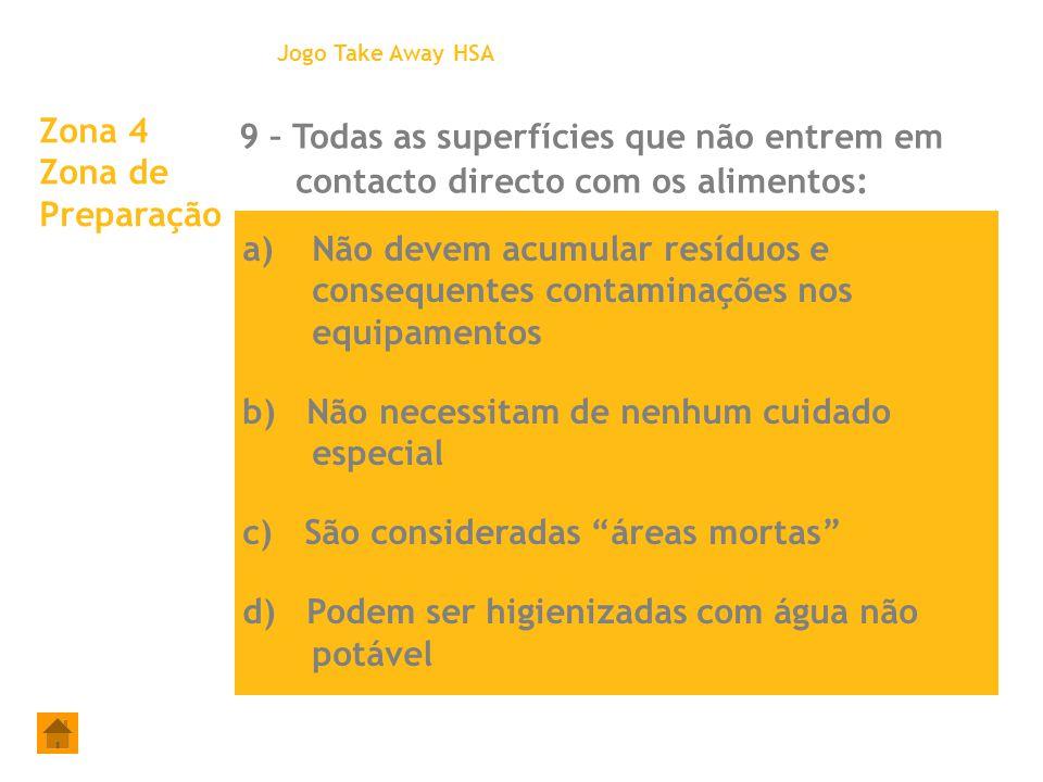 Zona 4 Zona de Preparação 9 – Todas as superfícies que não entrem em contacto directo com os alimentos: Jogo Take Away HSA a)Não devem acumular resídu