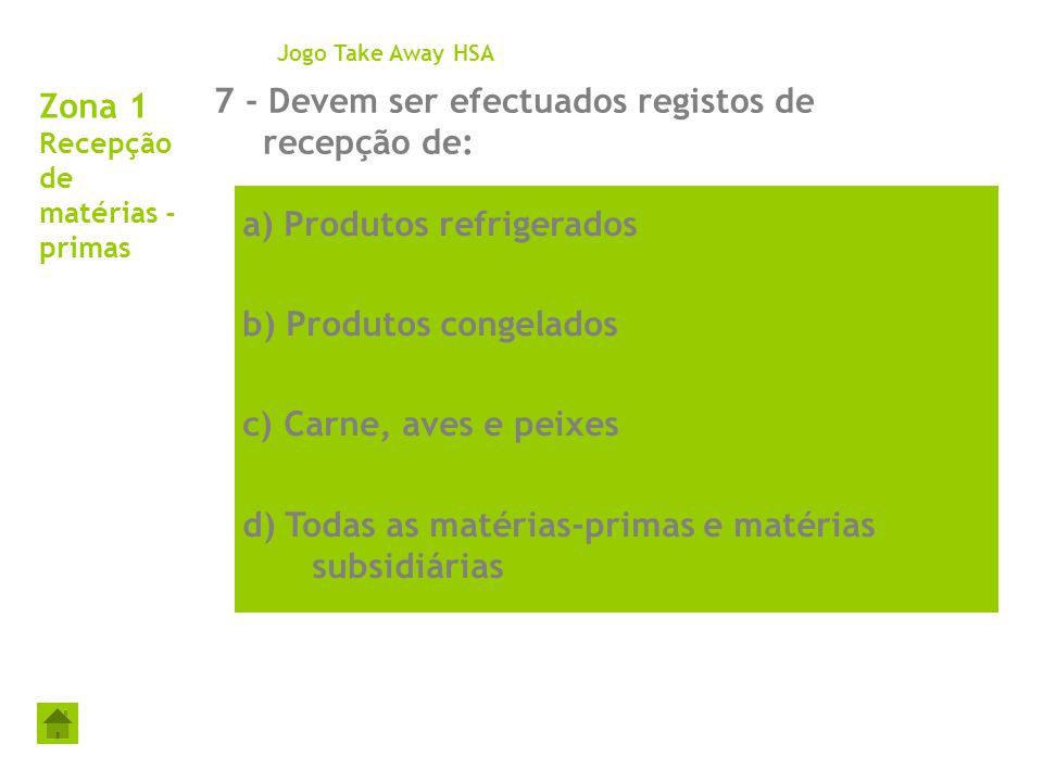 Zona 1 Recepção de matérias - primas 7 - Devem ser efectuados registos de recepção de: Jogo Take Away HSA a) Produtos refrigerados b) Produtos congela