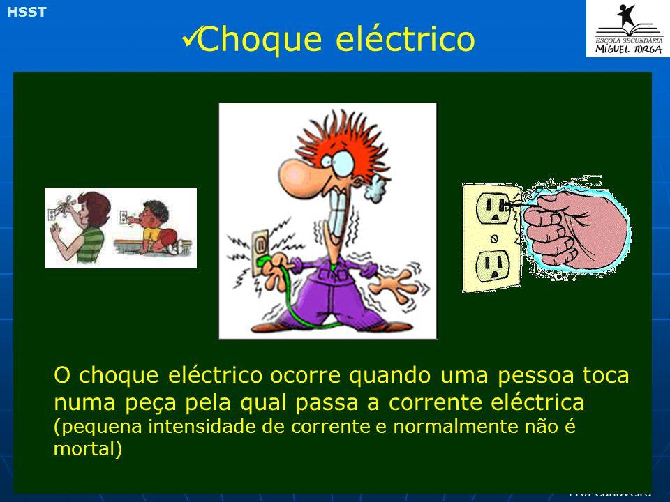 Prof Canaveira HSST O choque eléctrico ocorre quando uma pessoa toca numa peça pela qual passa a corrente eléctrica (pequena intensidade de corrente e normalmente não é mortal) Choque eléctrico