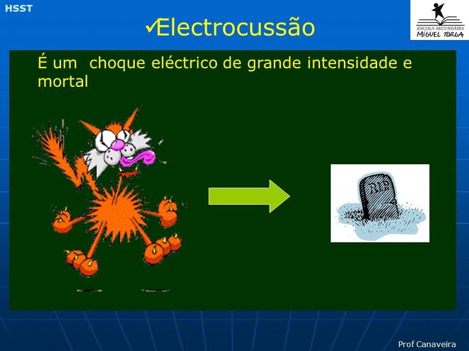 Prof Canaveira HSST O choque eléctrico ocorre quando uma pessoa toca numa peça pela qual passa a corrente eléctrica (pequena intensidade de corrente e