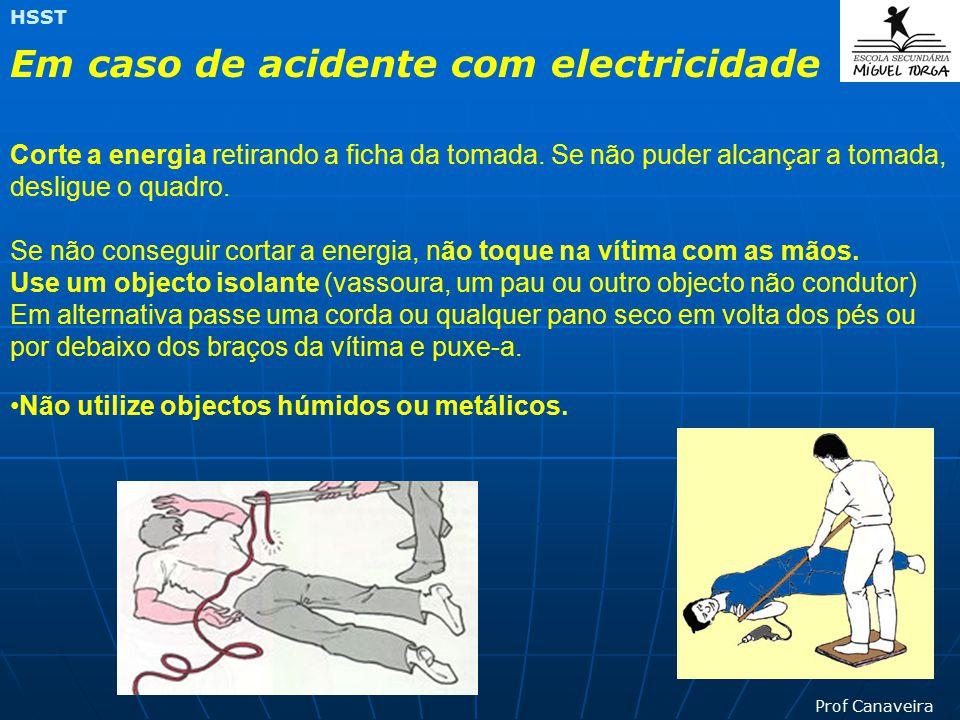 Prof Canaveira HSST Aparelhos de protecção nas instalações (Disjuntores) Afastamento das partes activas Colocação de obstáculos Uso de ferramentas pró