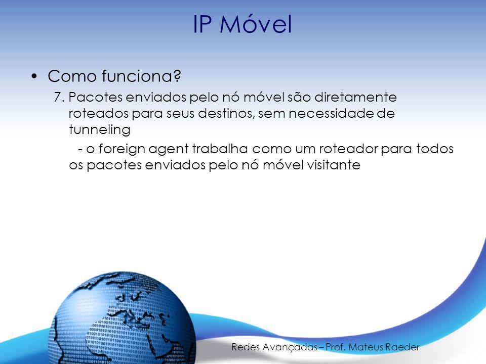 Redes Avançadas – Prof. Mateus Raeder IP Móvel Como funciona.