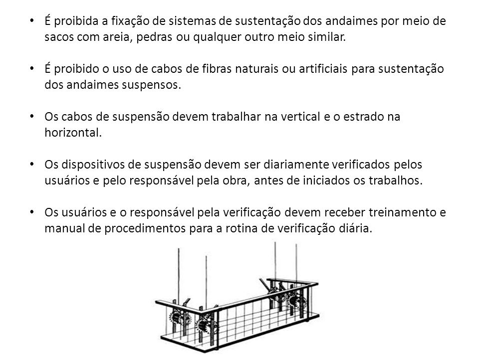 É proibida a fixação de sistemas de sustentação dos andaimes por meio de sacos com areia, pedras ou qualquer outro meio similar.