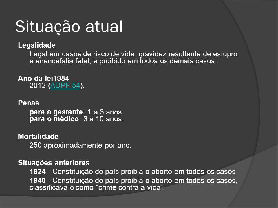 Aborto legalizado No Brasil, o aborto é considerado como crime contra a vida humana pelo Código Penal Brasileiro, em vigor desde 1984, prevendo detenção de um a quatro anos, em caso de aborto com o consentimento da mulher, e de três a dez anos para quem o fizer sem consentimento.