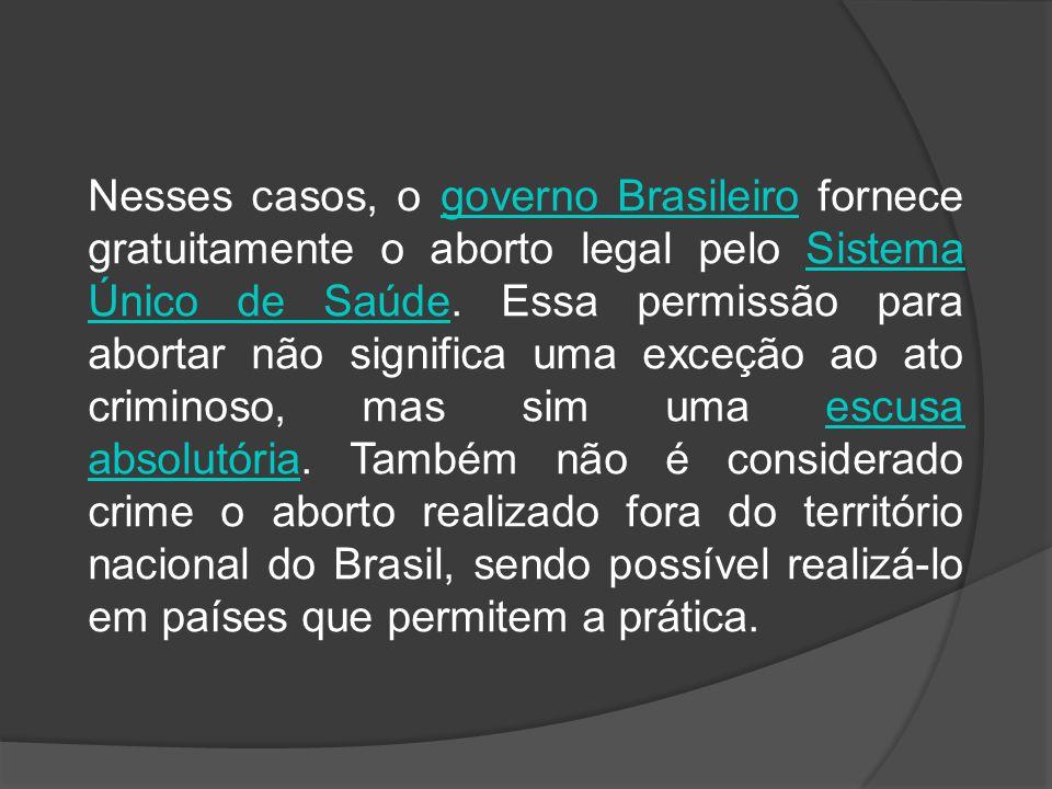 Nesses casos, o governo Brasileiro fornece gratuitamente o aborto legal pelo Sistema Único de Saúde. Essa permissão para abortar não significa uma exc