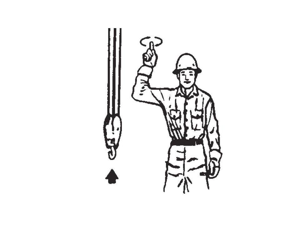 18.36.6 Quanto à movimentação e transporte de materiais e de pessoas: a)o código de sinais recomendado é o seguinte: I.elevar carga: antebraço na posição vertical; dedo indicador para mover a mão em pequeno círculo horizontal;