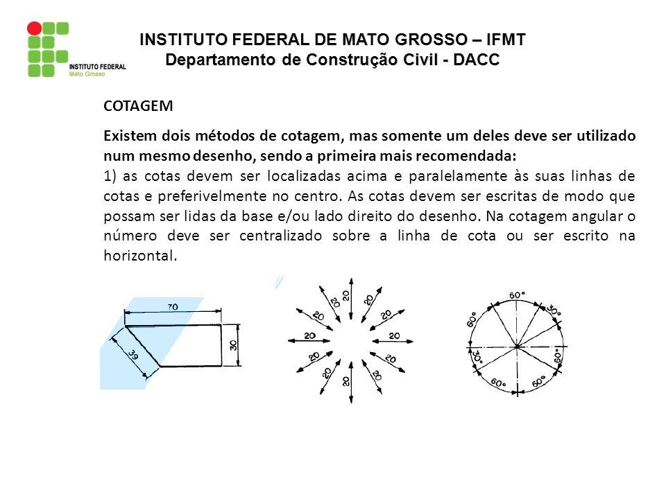 COTAGEM Existem dois métodos de cotagem, mas somente um deles deve ser utilizado num mesmo desenho, sendo a primeira mais recomendada: 2) as cotas devem ser lidas da base da folha de papel.