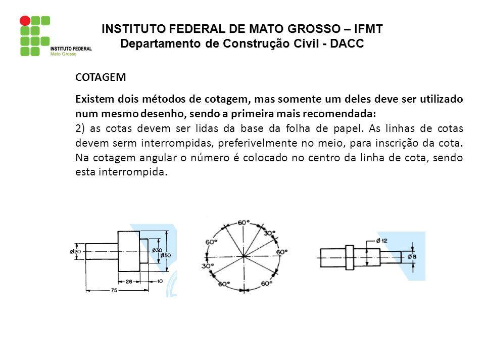 COTAGEM Existem dois métodos de cotagem, mas somente um deles deve ser utilizado num mesmo desenho, sendo a primeira mais recomendada: 2) as cotas dev