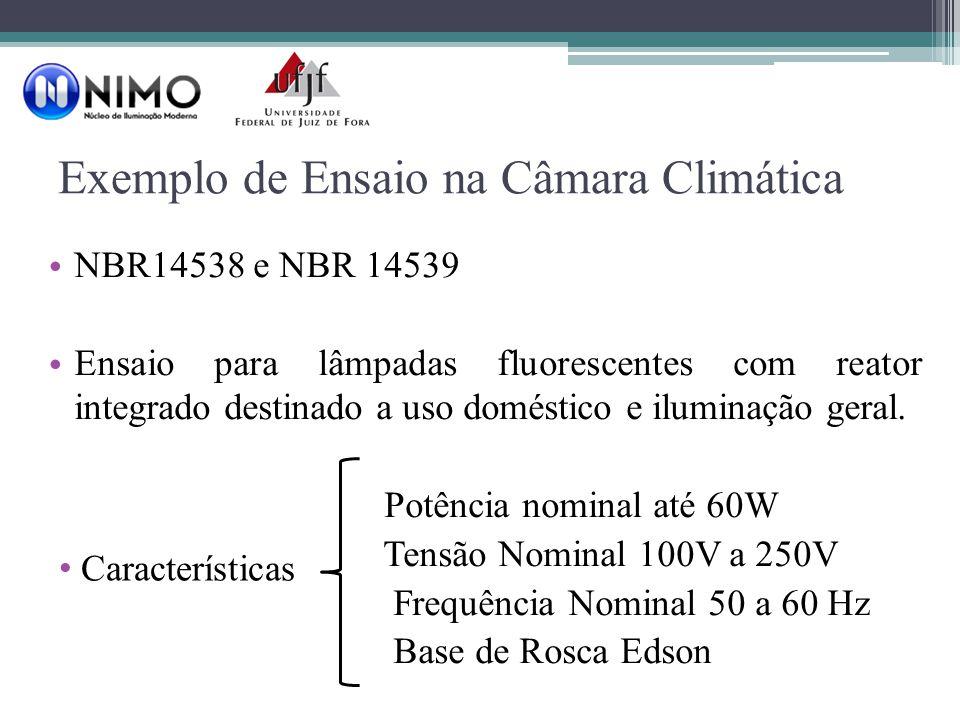 Exemplo de Ensaio na Câmara Climática NBR14538 e NBR 14539 Ensaio para lâmpadas fluorescentes com reator integrado destinado a uso doméstico e iluminação geral.