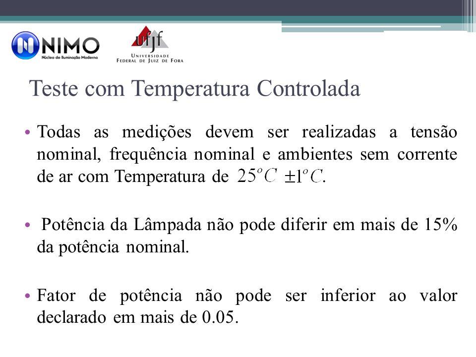 Teste com Temperatura Controlada Todas as medições devem ser realizadas a tensão nominal, frequência nominal e ambientes sem corrente de ar com Temperatura de.
