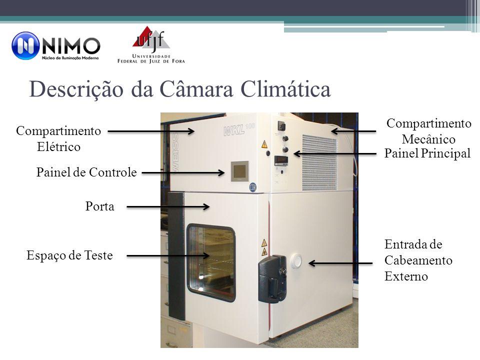 Descrição da Câmara Climática Compartimento Elétrico Painel de Controle Porta Espaço de Teste Entrada de Cabeamento Externo Compartimento Mecânico Painel Principal