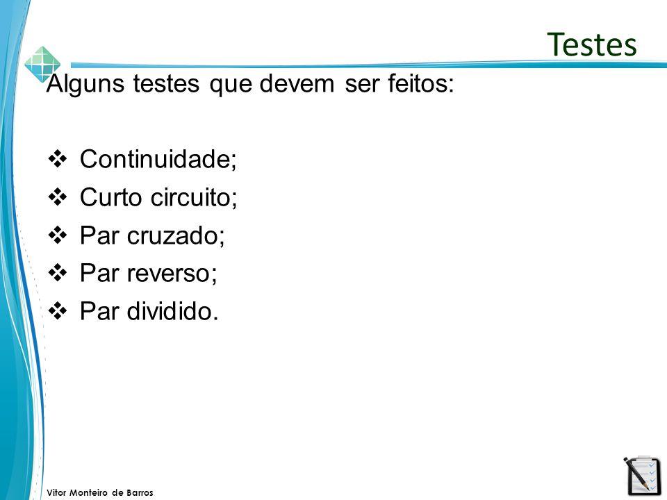Vitor Monteiro de Barros Alguns testes que devem ser feitos:  Continuidade;  Curto circuito;  Par cruzado;  Par reverso;  Par dividido. Testes