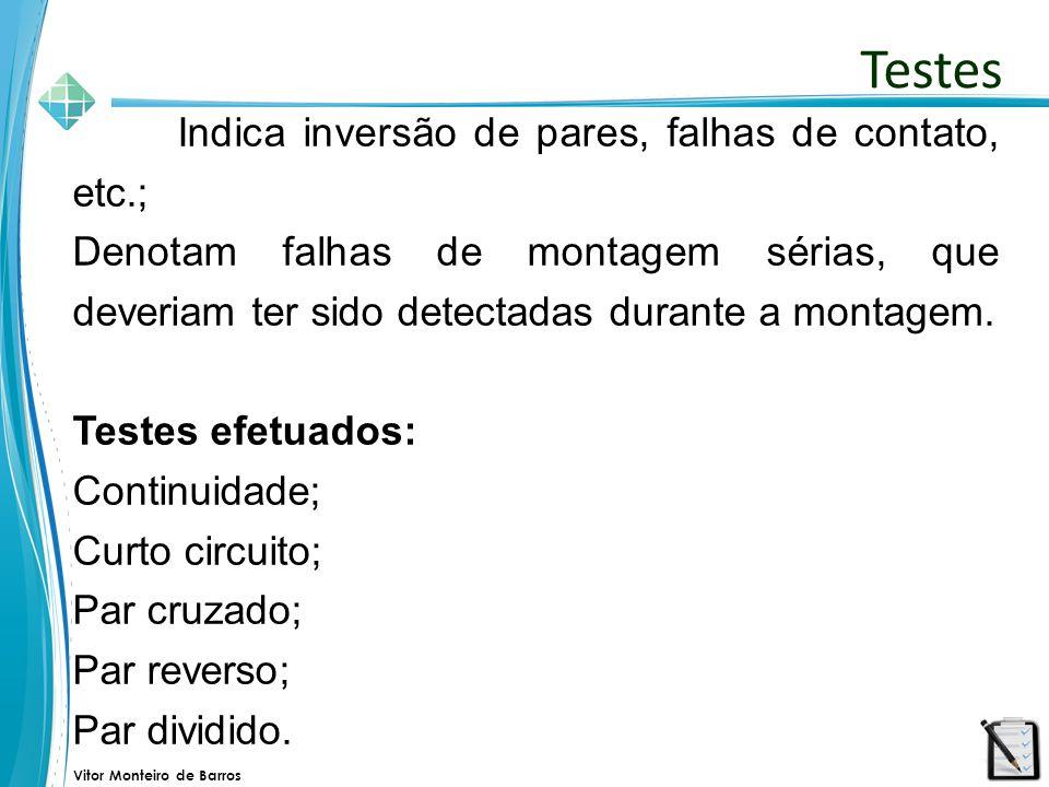 Vitor Monteiro de Barros Indica inversão de pares, falhas de contato, etc.; Denotam falhas de montagem sérias, que deveriam ter sido detectadas durant