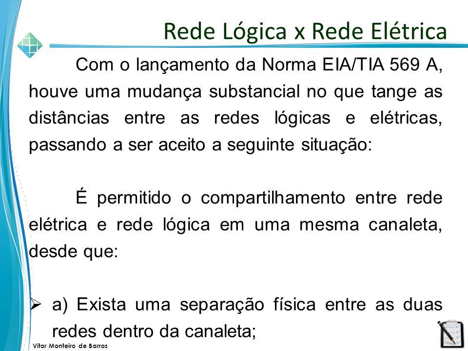 Vitor Monteiro de Barros Com o lançamento da Norma EIA/TIA 569 A, houve uma mudança substancial no que tange as distâncias entre as redes lógicas e el