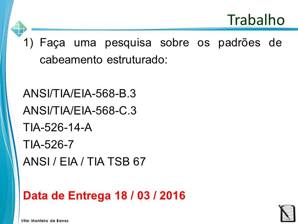 Vitor Monteiro de Barros 1)Faça uma pesquisa sobre os padrões de cabeamento estruturado: ANSI/TIA/EIA-568-B.3 ANSI/TIA/EIA-568-C.3 TIA-526-14-A TIA-52