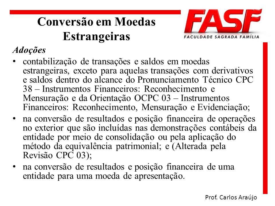Conversão em Moedas Estrangeiras Adoções contabilização de transações e saldos em moedas estrangeiras, exceto para aquelas transações com derivativos