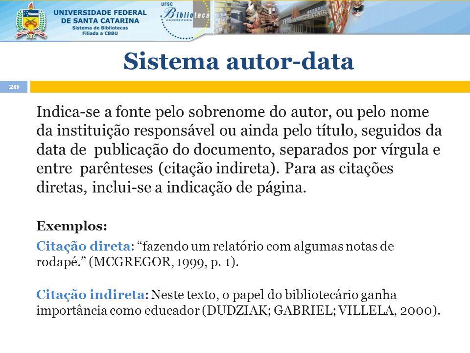 Sistema autor-data Indica-se a fonte pelo sobrenome do autor, ou pelo nome da instituição responsável ou ainda pelo título, seguidos da data de publicação do documento, separados por vírgula e entre parênteses (citação indireta).