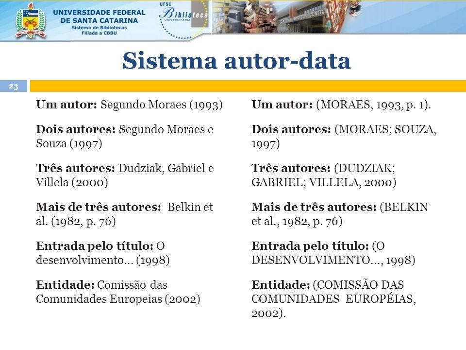 Um autor: Segundo Moraes (1993) Dois autores: Segundo Moraes e Souza (1997) Três autores: Dudziak, Gabriel e Villela (2000) Mais de três autores: Belkin et al.