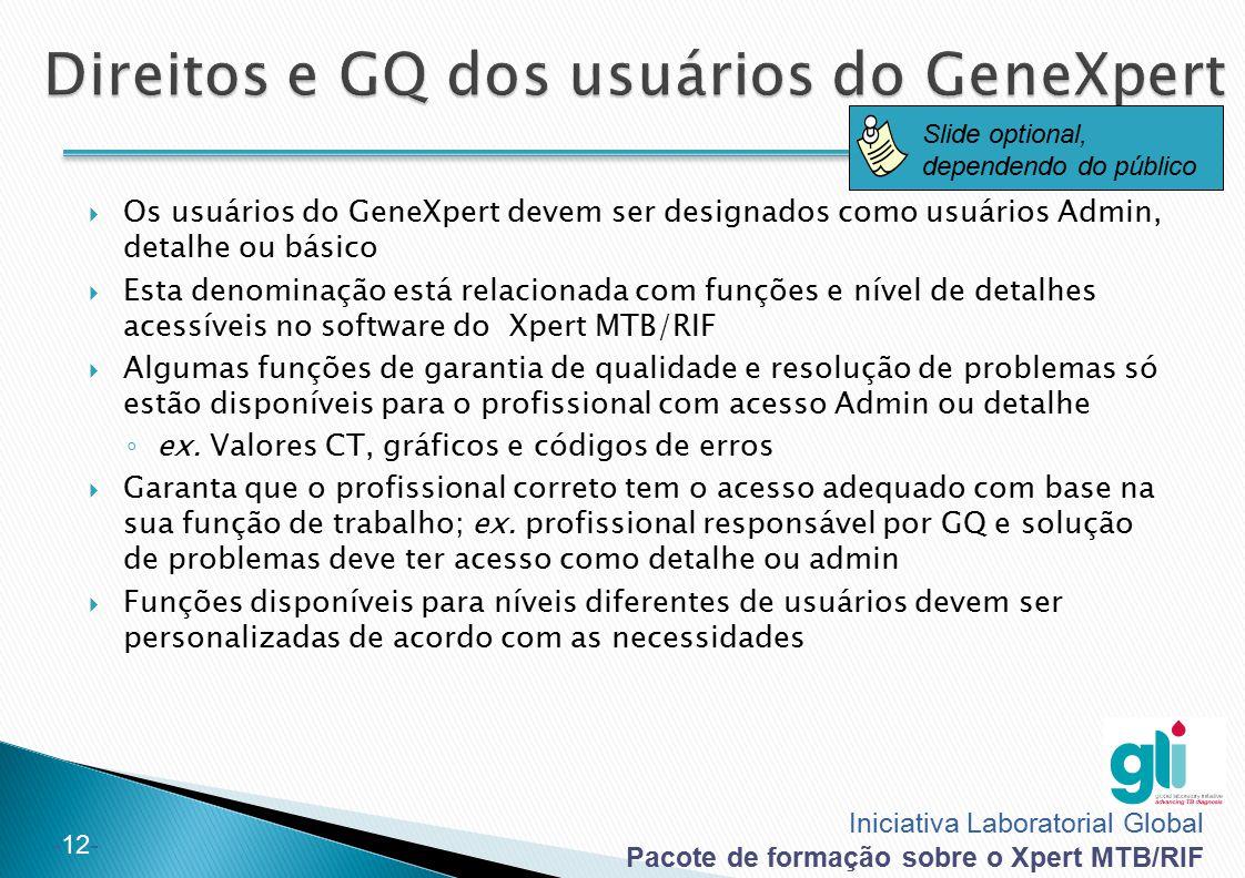 Iniciativa Laboratorial Global Pacote de formação sobre o Xpert MTB/RIF -12-  Os usuários do GeneXpert devem ser designados como usuários Admin, deta