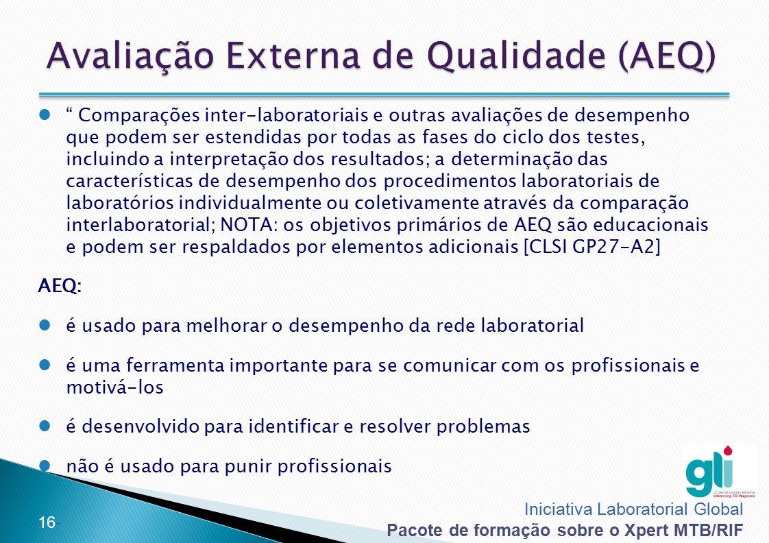 """Iniciativa Laboratorial Global Pacote de formação sobre o Xpert MTB/RIF -16- """" Comparações inter-laboratoriais e outras avaliações de desempenho que p"""