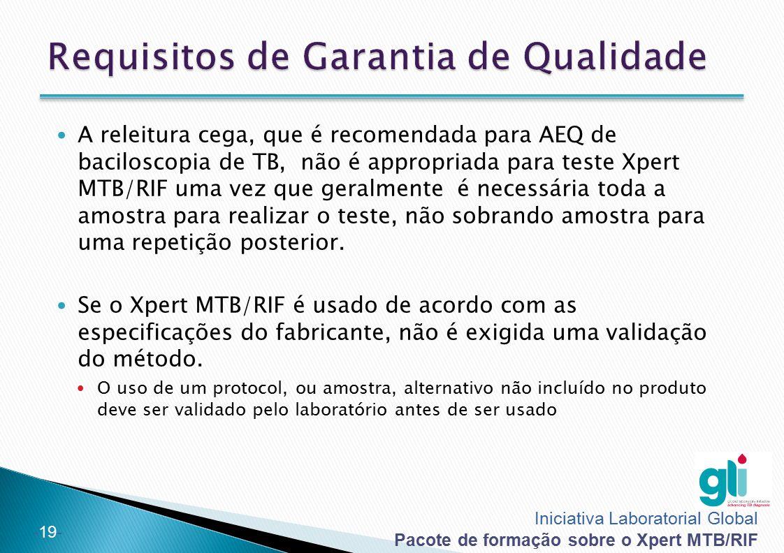 Iniciativa Laboratorial Global Pacote de formação sobre o Xpert MTB/RIF -19- A releitura cega, que é recomendada para AEQ de baciloscopia de TB, não é