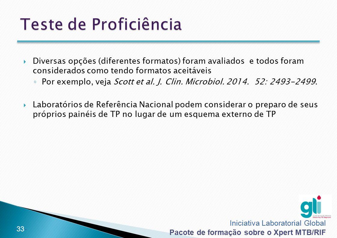 Iniciativa Laboratorial Global Pacote de formação sobre o Xpert MTB/RIF -33-  Diversas opções (diferentes formatos) foram avaliados e todos foram con