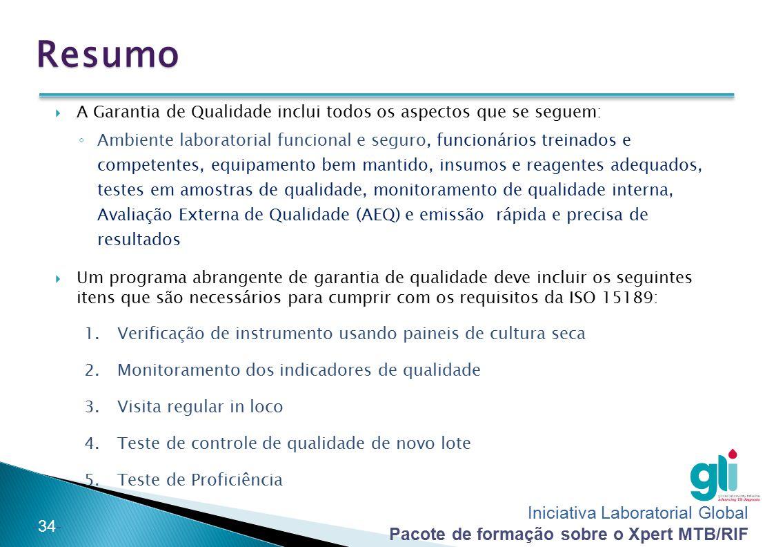 Iniciativa Laboratorial Global Pacote de formação sobre o Xpert MTB/RIF -34- Resumo  A Garantia de Qualidade inclui todos os aspectos que se seguem: