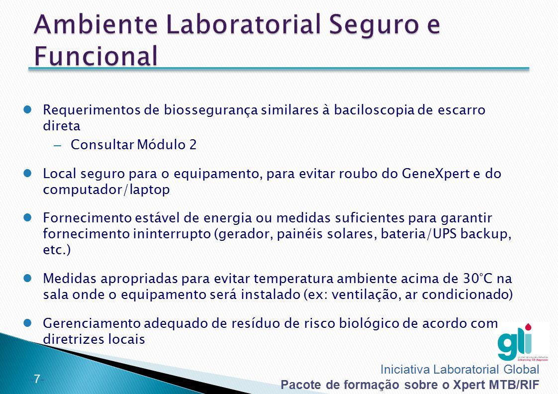 Iniciativa Laboratorial Global Pacote de formação sobre o Xpert MTB/RIF -7--7- Requerimentos de biossegurança similares à baciloscopia de escarro dire