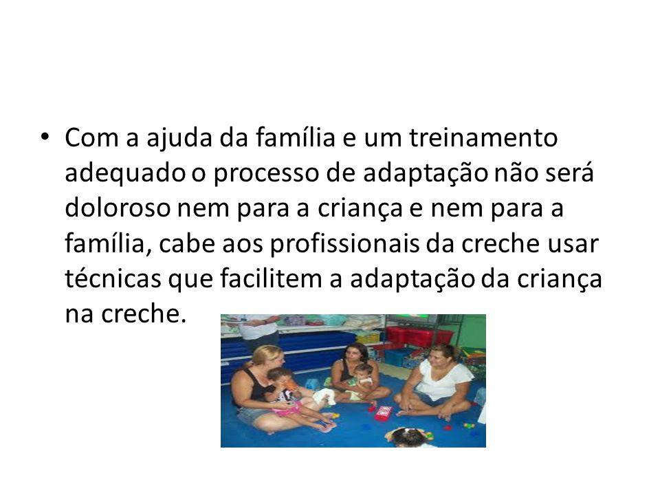 Com a ajuda da família e um treinamento adequado o processo de adaptação não será doloroso nem para a criança e nem para a família, cabe aos profissio